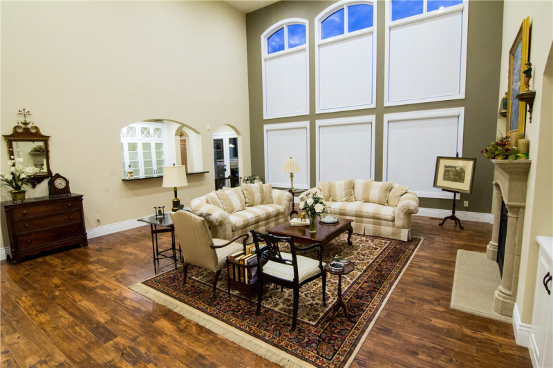 Great Room with Motorized Shades