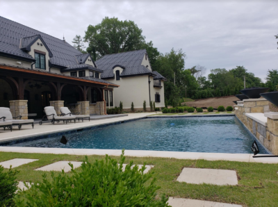 French Country Home Exterior Pool 2
