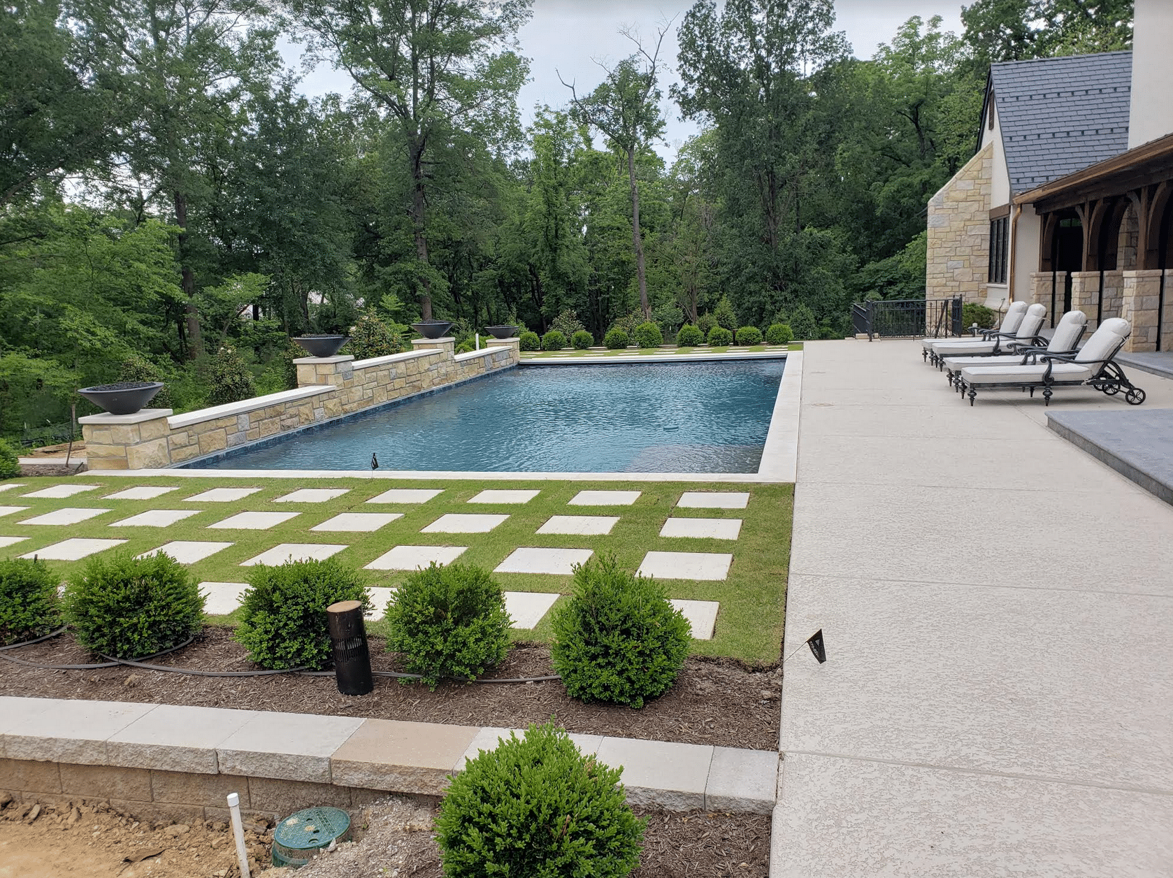 French Country Home Rear Exterior Pool